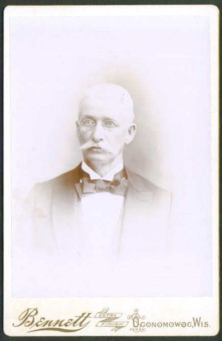 White mustache specs cabinet card Bennett Oconomowoc WI