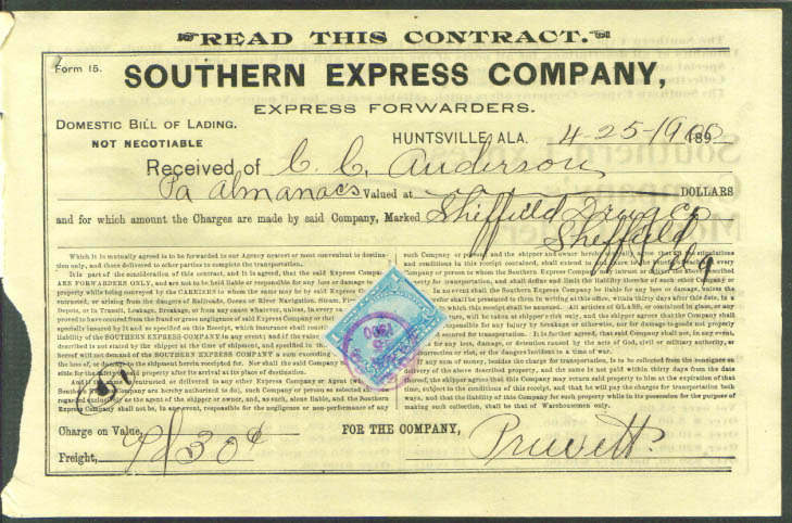 Southern Express Huntsville AL bill of lading 1900