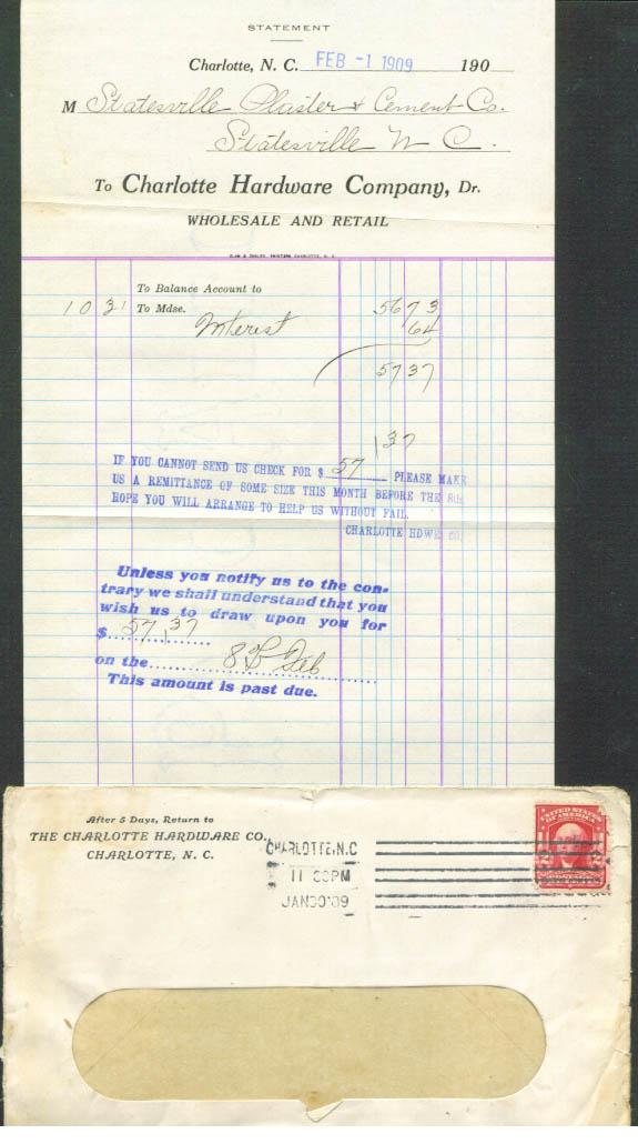 Charlotte Hardware Statesville Plaster bill NC 1909