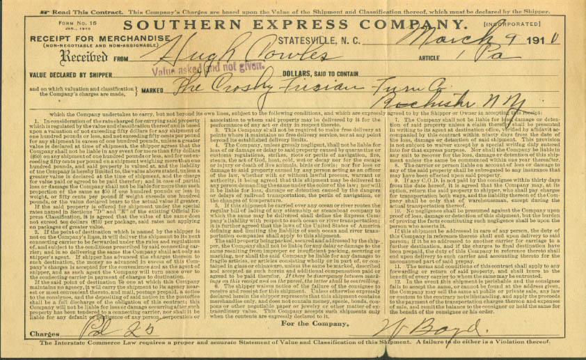 Crosby Frisian Tanning Southern Express waybill 1910