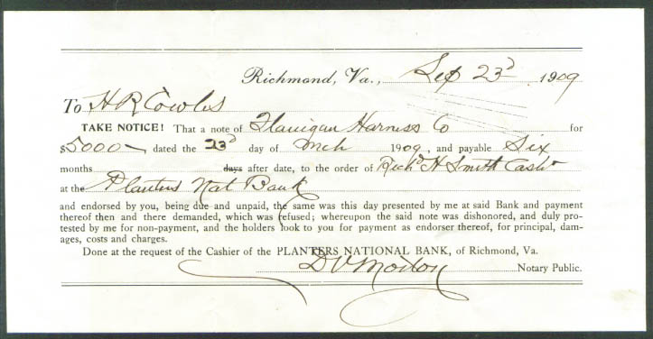 Flanigan Harness Richmond VA H R Cowles pay demand 1909