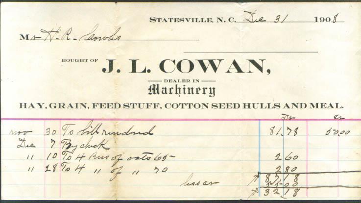 J L Cowan Machinery oats invoice Statesville NC 1908