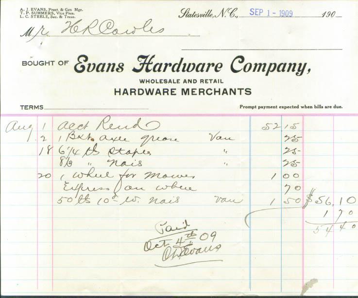 Evans Hardware axle grease bill Statesville NC 1909