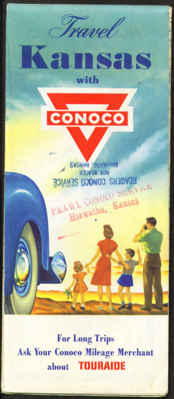 Conoco Gasoline Road Map Kansas 1950