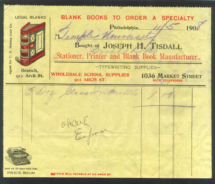 Joseph H Tisdall Stationer billhead inkwells Philadelphia PA 1908