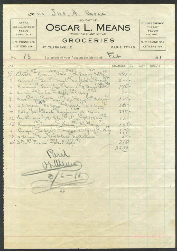 Oscar L Means Groceries billhead Paris TX 1911