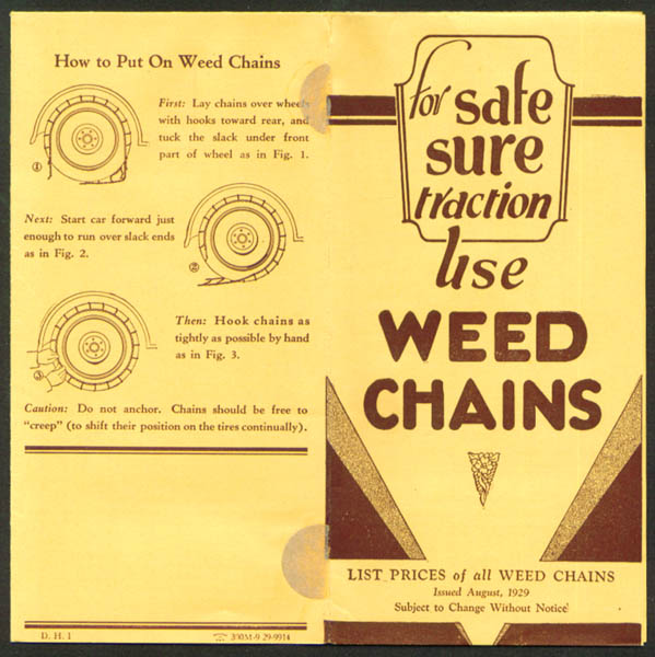 Weed Chains List Price folder August 1929