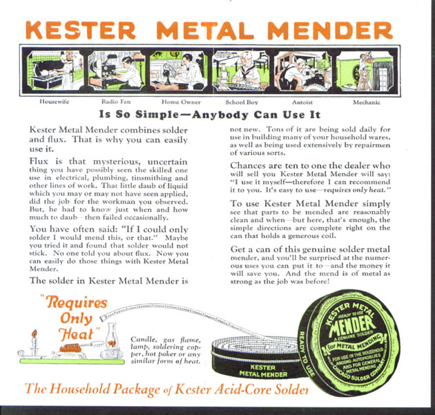 Kester Metal Mender Solder folder Chicago 1920s