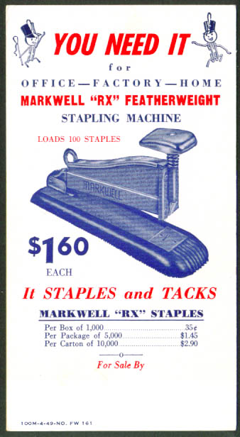 Markwell Featherweight RX Stapler blotter 1949