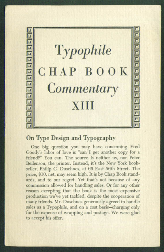 Goudy Dwiggins Typophile Chap Book Commentary #13