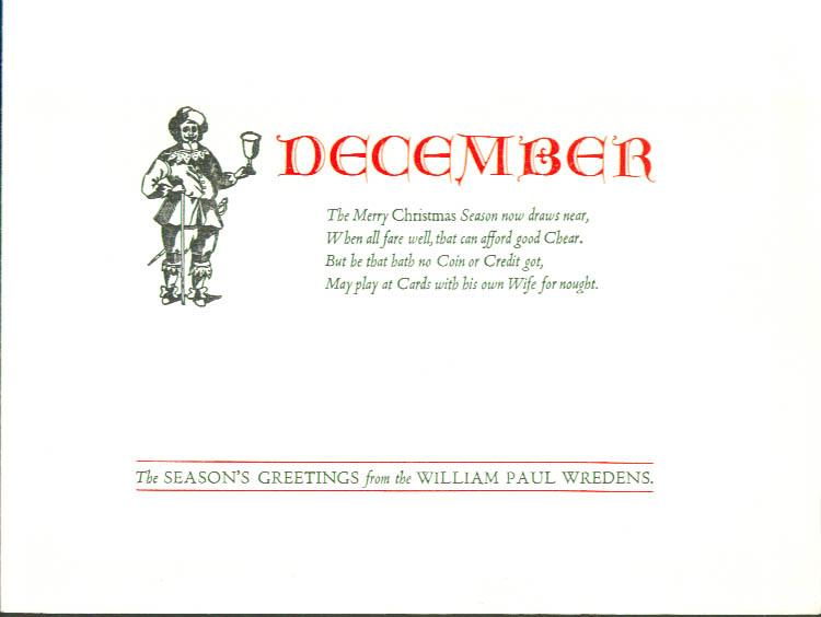 William Paul Wredens December Christmas Card 1940s
