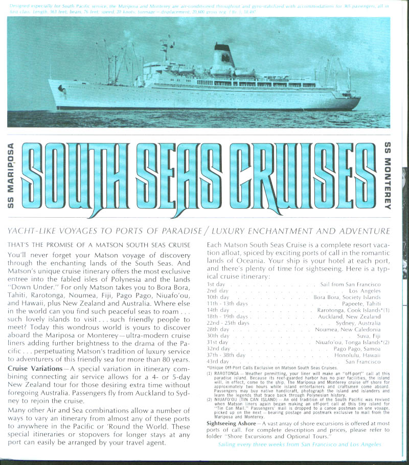 Matson Line South Seas SS Mariposa & Monterey Schedule 1964