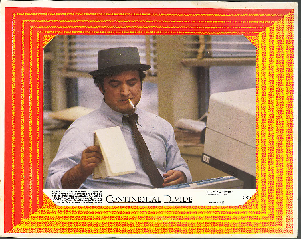 Image for John Belushi Continental Divide lobby card 1981