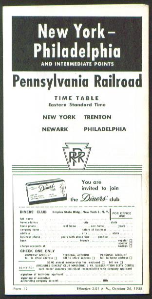Image for Pennsylvania Railroad NY-Philadelphia Time Table 10/1958
