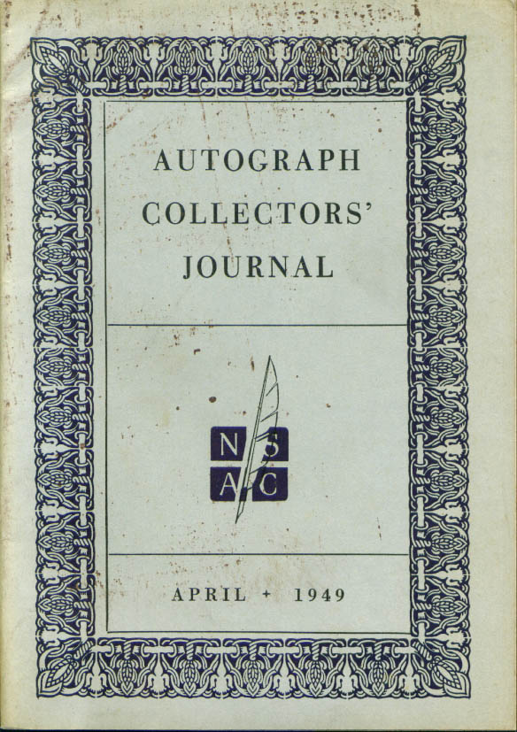 Autograph Collectors' Journal April 1949 issue