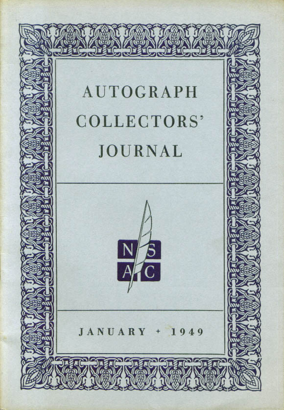 Autograph Collectors' Journal January 1949 issue