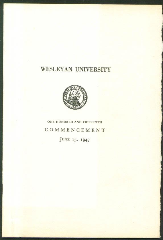 Dean Acheson Wesleyan University Commencement Program 6/15/1947