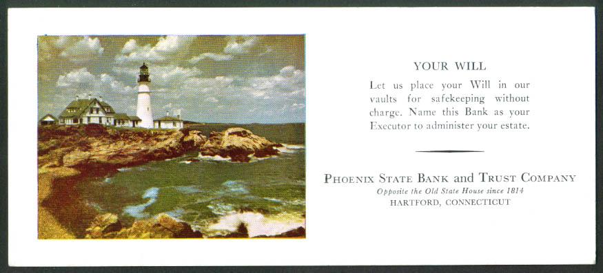 Phoenix State Bank & Trust Company Lighthouse blotter Hartford CT 1950s