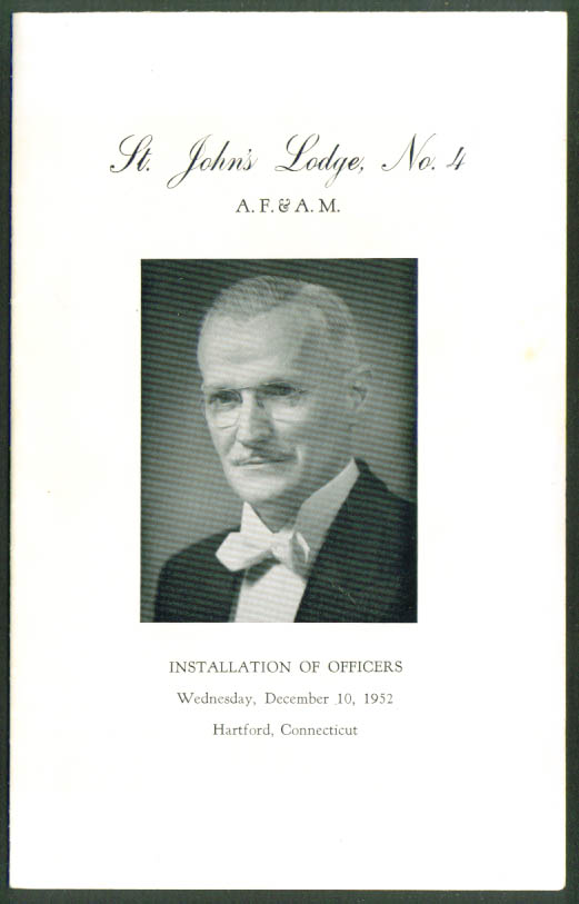 St John's Masonic Lodge #4 Hartford CT Officer Installation program 12/10/1952