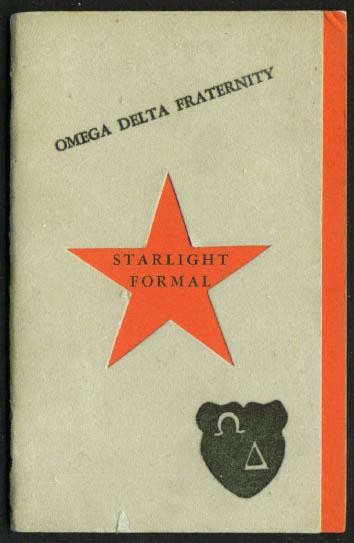 Omega Delta Fraternity Starlight Formal program 1953 Hartford CT