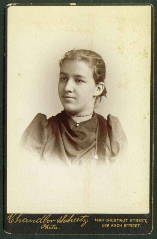 Shamrock pin girl cabinet card Chandler & Scheetz Phila