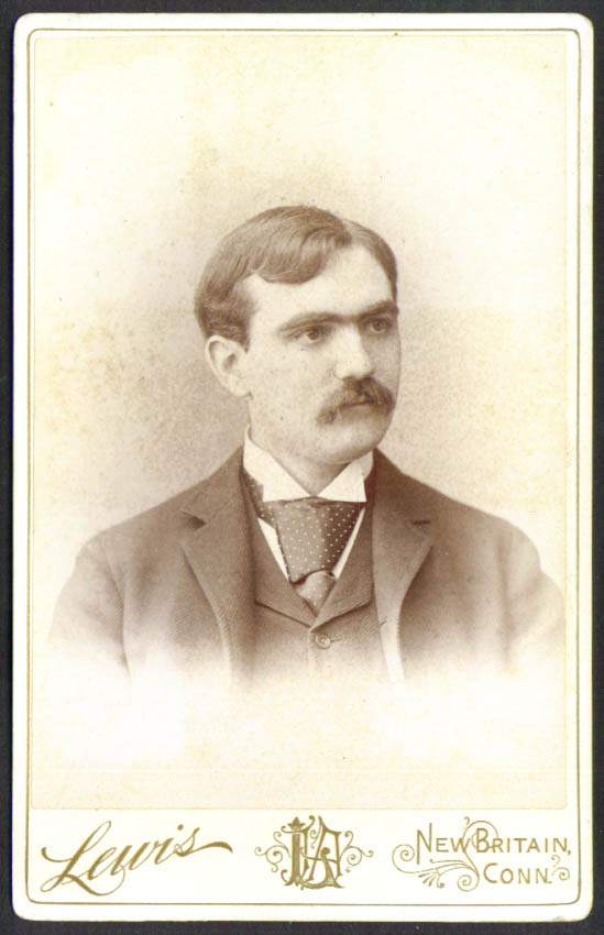 Short hair mustache cabinet card Lewis: New Britain CT