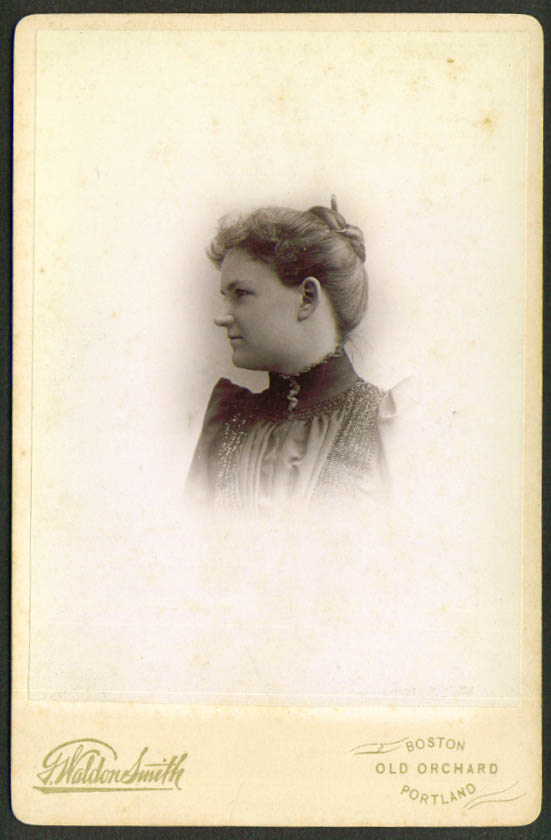 Fair woman cabinet card G Waldon Smith Old Orchard ME