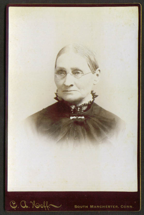 Old woman glasses cabinet card C A Hoff S Manchester CT