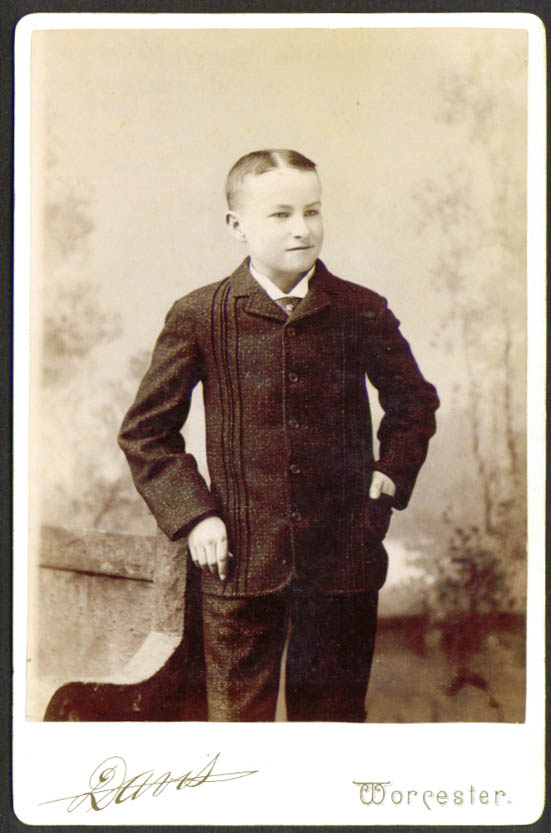 Youth wool suit cabinet card Davis: Worcester MA