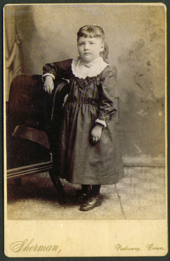 Little girl padded chair cabinet card Sherman Putnam CT