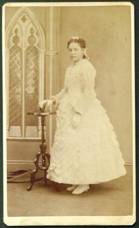 White-lace dress & book CDV Reynolds Williamsburgh NY