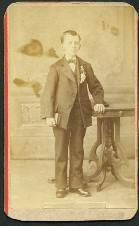 Standing Youth with bible CDV Henry Holler: Brooklyn NY