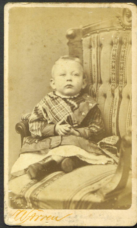Seated child in plaid CDV Warren: New Haven CT