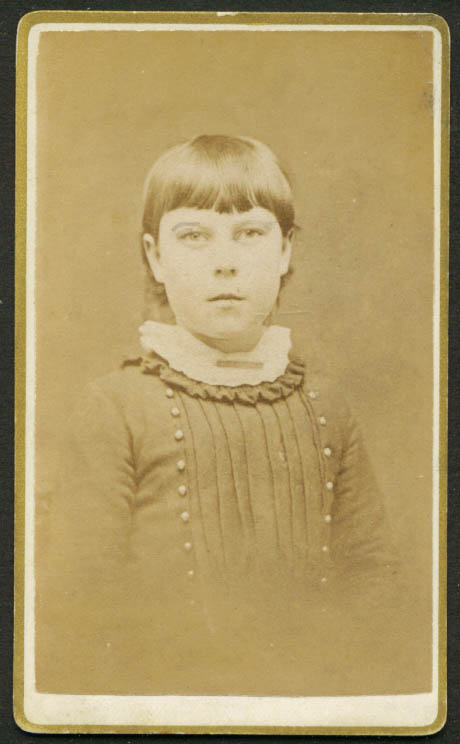 Young girl in bangs CDV H J Reed: Worcester MA