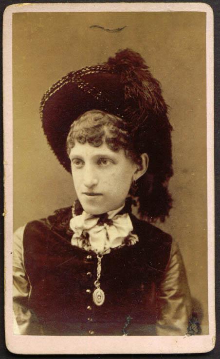 Feather hat & locket woman CDV Brownell's Cincinnati OH