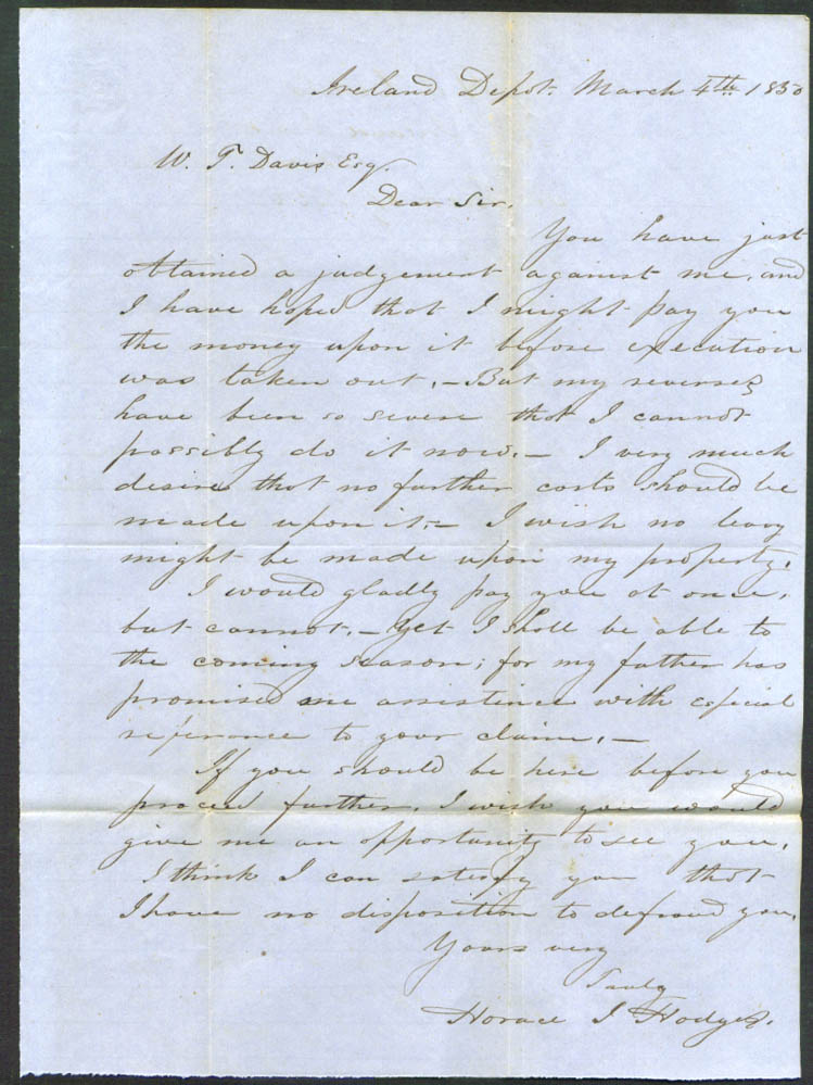 Horace J Hodges letter: W T Davis Ireland Depot MA 1850