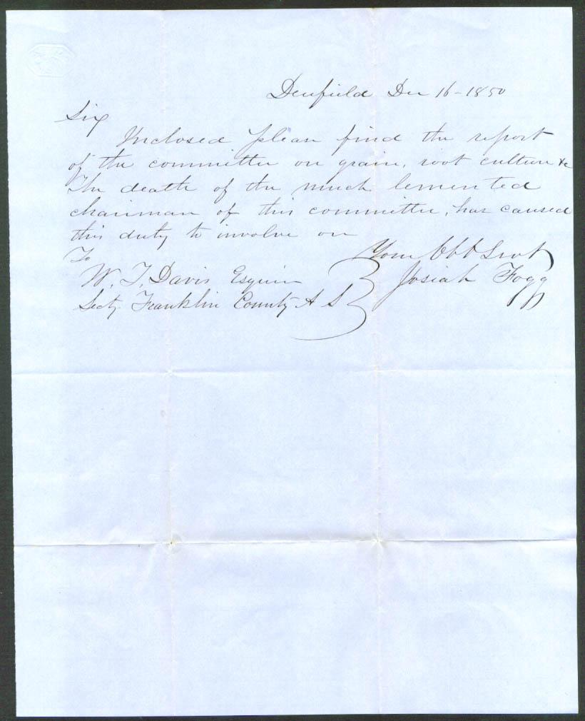 Josiah Fogg letter Wendell T Davis Deerfield MA 1850
