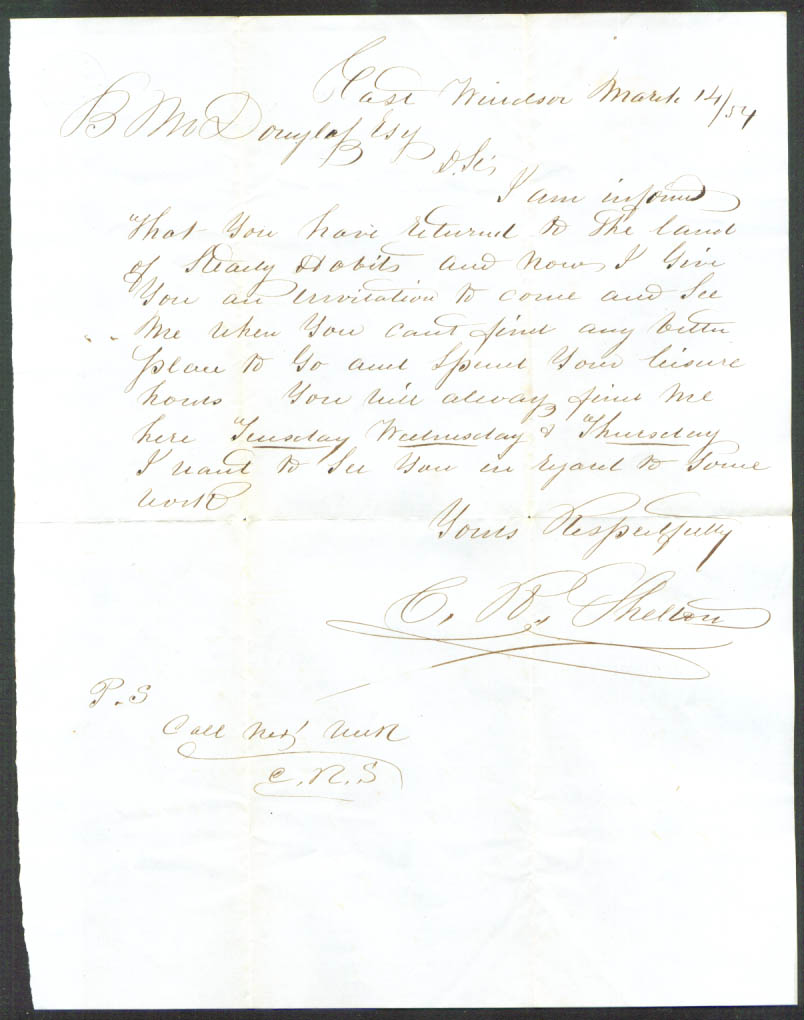 C P Shelton letter: B M Douglass Esq E Windsor CT 1854