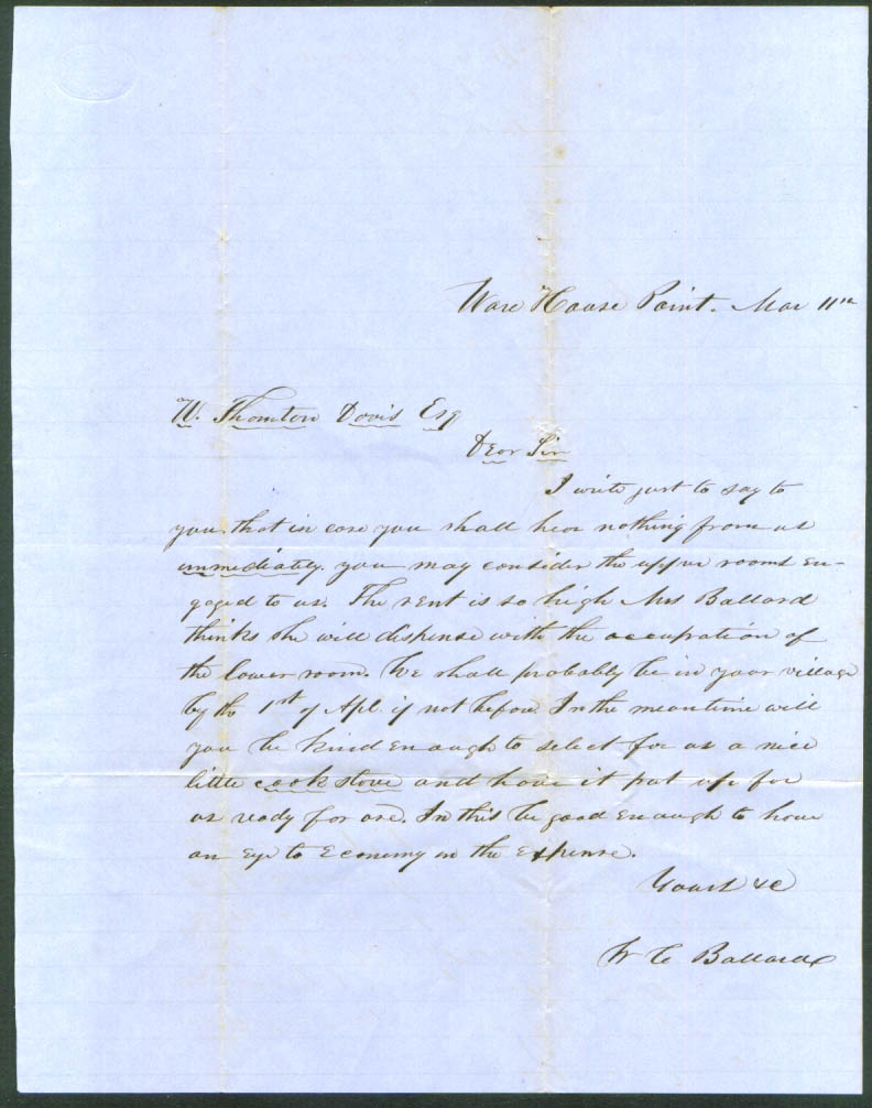 Image for W C Ballard letter: W T Davis Warehouse Point CT 1850