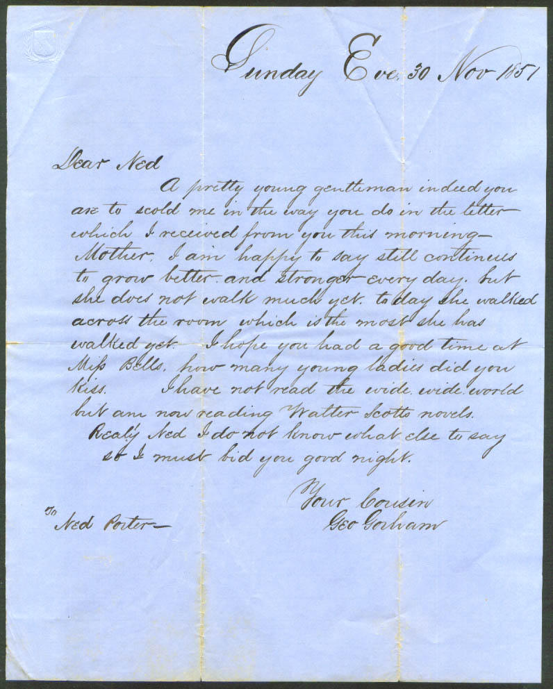 George Gorham letter cousin Edward Ned Porter 1851