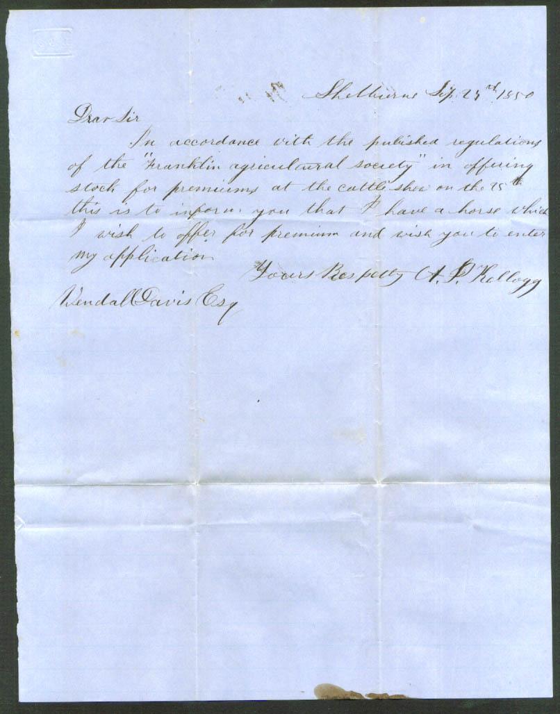A P Kellogg letter Wendell T Davis Shelburne MA 1850
