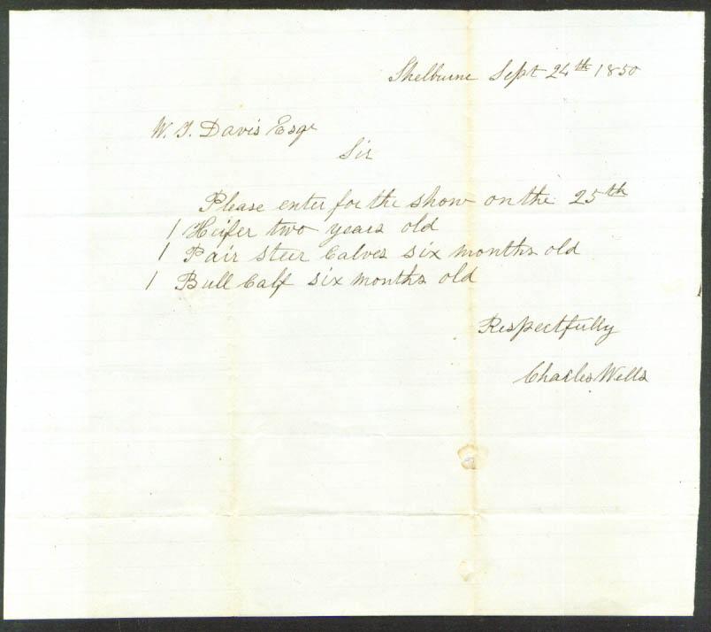 Charles Wells letter Wendell T Davis Shelburne MA 1850