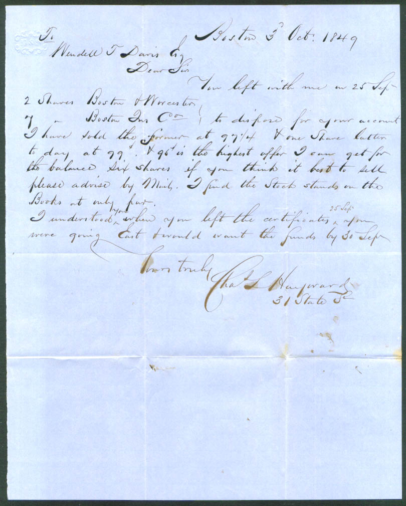 Chas L Hayward letter W T Davis stock sale Boston 1849