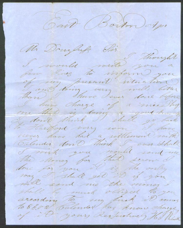 H S Waleck letter Barton Douglass E Boston 185?