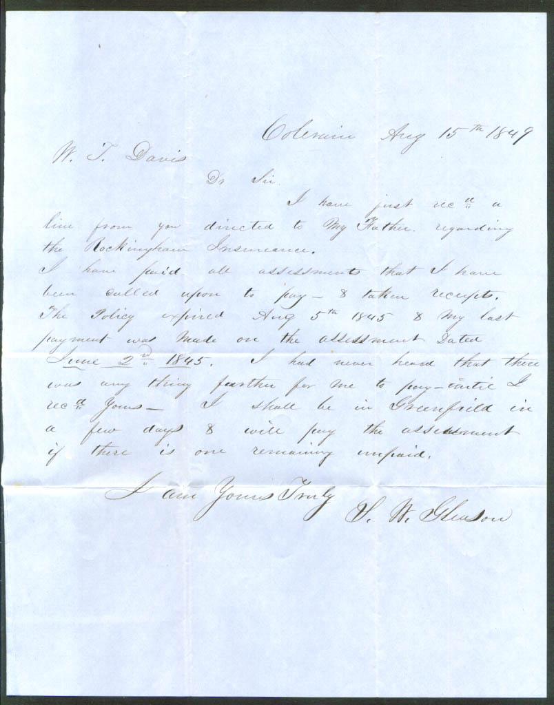 S W Gleason letter Wendell T Davis Colerain MA 1849