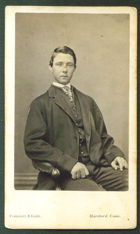 Seated young man necktie CDV Prescott Gage Hartford CT