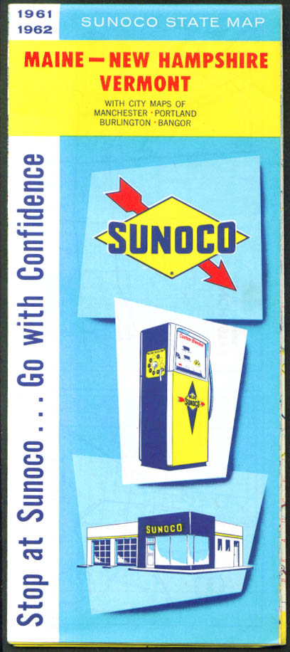 Sunoco Road Map Maine New Hampshire Vermont 1961 1962