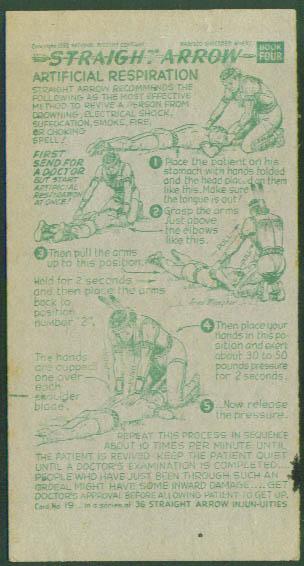 Nabisco Straight Arrow Card Book 4 #19 Artificial Respiration
