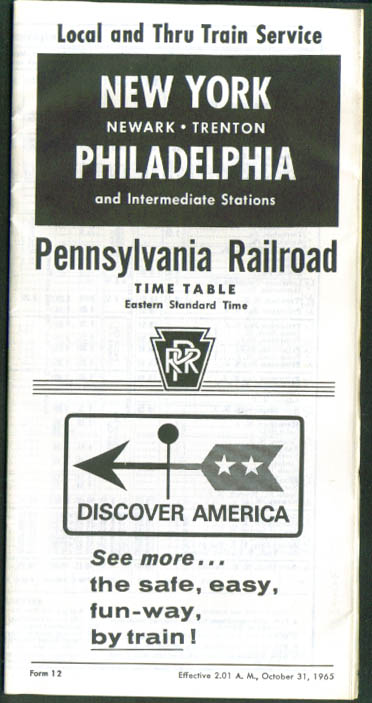 Pennsylvania RR NY-Philadelphia Timetable 1965