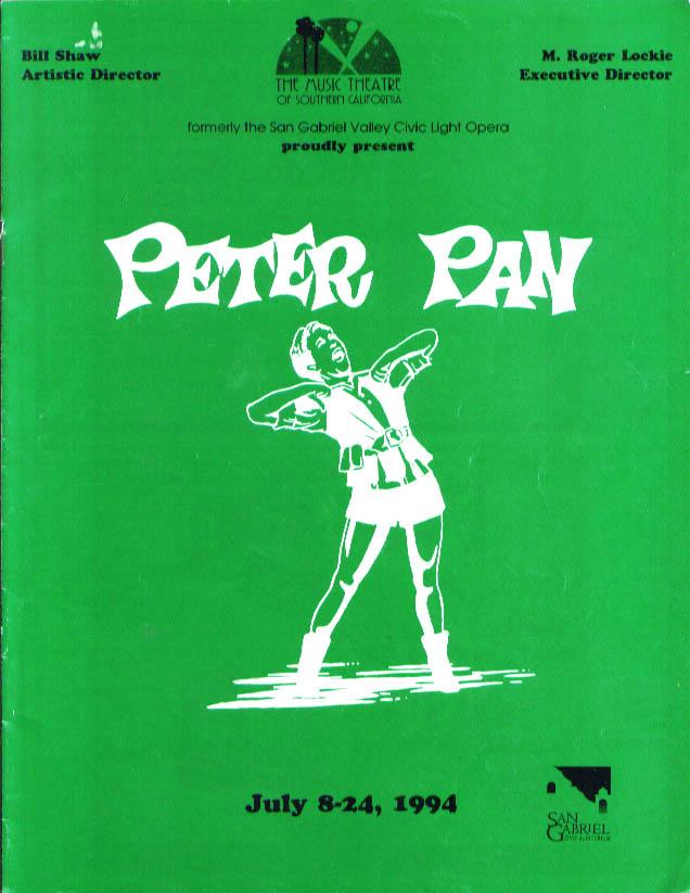 Image for Susie Starr Peter Pan San Gabriel Light Opera program 1994